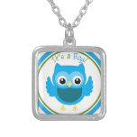 Owl It's a Boy Gender Reveal Silver Plated Necklace
