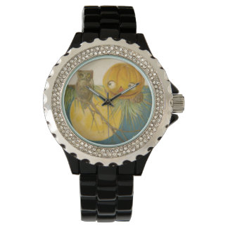 Owl Jack O Lantern Pumpkin Full Moon Wristwatch