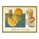 Owl Jack O Lantern Pumpkin Girl Doll Postcards