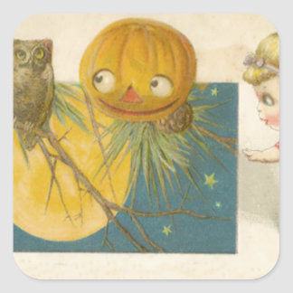 Owl Jack O Lantern Pumpkin Girl Doll Square Stickers