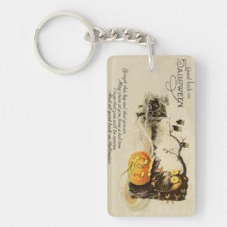 Owl Jack O' Lantern Pumpkin Tree Keychain