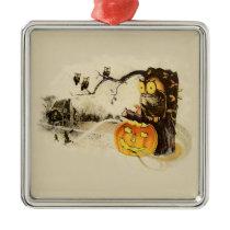Owl Jack O' Lantern Pumpkin Tree Metal Ornament