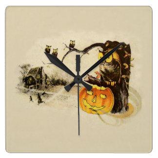 Owl Jack O' Lantern Pumpkin Tree Square Wall Clock