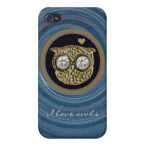 owl jewel in a spiral case for iPhone 4