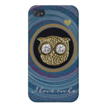 owl jewel in a spiral iPhone 4/4S cover