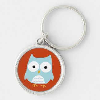 Owl Silver-Colored Round Keychain