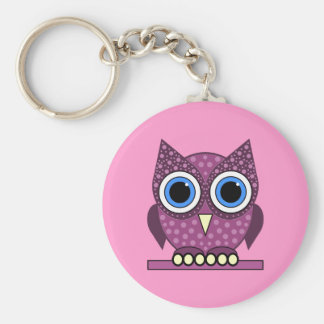 owl basic round button keychain