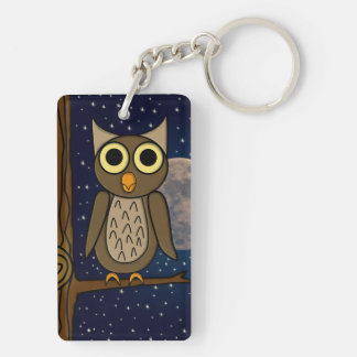 owl Double-Sided rectangular acrylic keychain