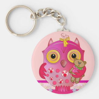 Owl keychain with Baby owl and her bear