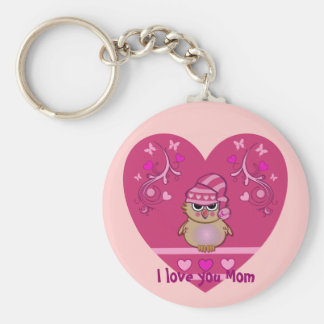 Owl keychain with heart and text