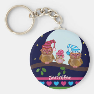 Owl keychain with Owls family and name