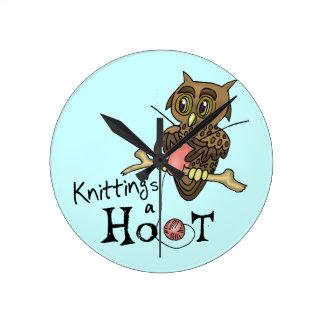 Owl Knitting Round Clock