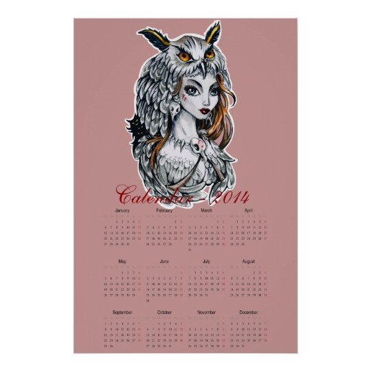 Owl lady witch calendar 2014 poster