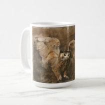 Owl Landing On A Perch Mug