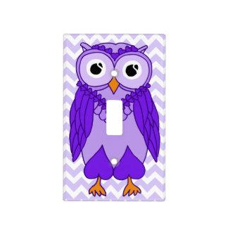 Owl Light Switch Cover Purple Chevron Owl