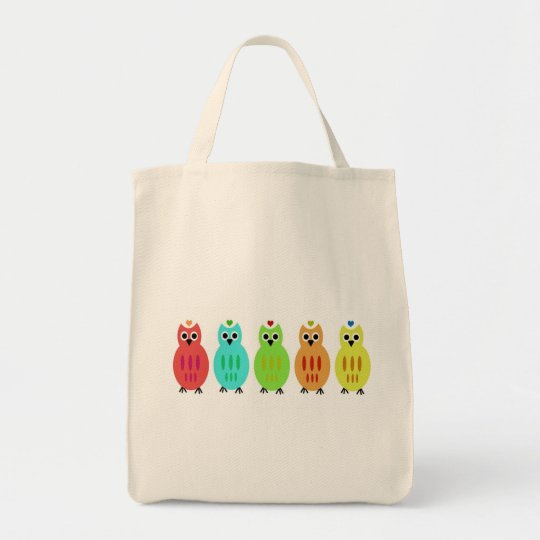 Owl Lined Up Organic Bag