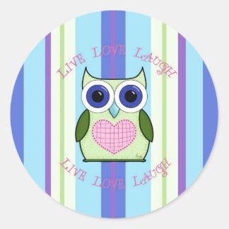 Owl ~ Live, Love, Laugh Classic Round Sticker