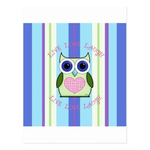 Owl ~ Live, Love, Laugh Post Card
