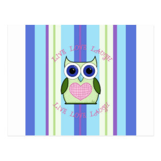 Owl ~ Live, Love, Laugh Postcard
