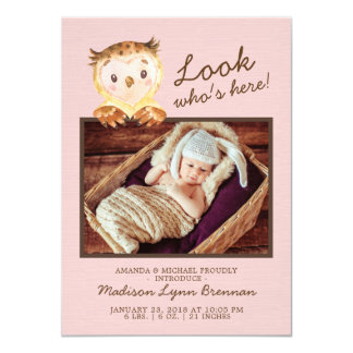 Owl Look Who's Here Girls Photo Birth Announcement