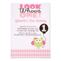 Owl Look Who's One Birthday Invitation