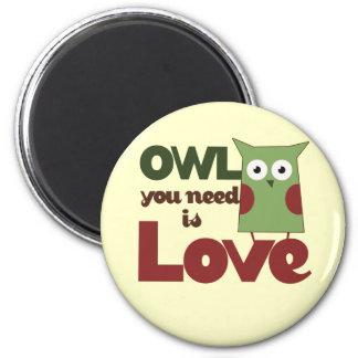 Owl Love 2 Inch Round Magnet