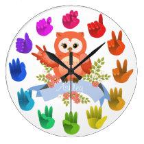 Owl love ASL Sign language rainbow  customizable Clocks
