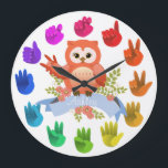 """Owl love ASL Sign language rainbow  customizable Large Clock<br><div class=""""desc"""">Artist&#39;s color wheel -light spectrum with cute owlie A gift for a very special person! &lt;3 _don60_t=&quot;&quot; forget=&quot;&quot; to=&quot;&quot; change=&quot;&quot; the=&quot;&quot; name=&quot;&quot; or=&quot;&quot; put=&quot;&quot; your=&quot;&quot; _statement21_=&quot;&quot;&gt;&lt;/3&gt;</div>"""