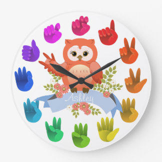 Owl love ASL Sign language rainbow  customizable Large Clock
