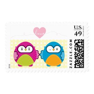 OWL LOVE :: bright girl + boy Postage Stamp