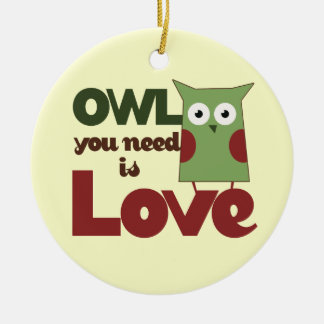 Owl Love Ceramic Ornament