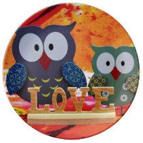 Owl love dinner plate