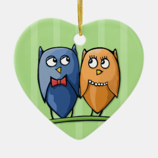 Owl Love green Heart Ornament