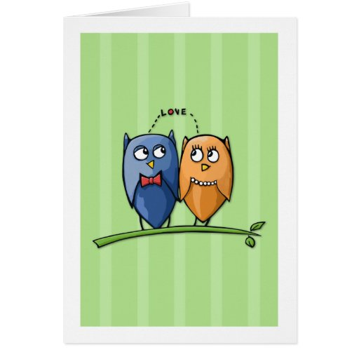 Owl Love green Note Card