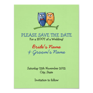 Owl Love green Save the Date Announcement