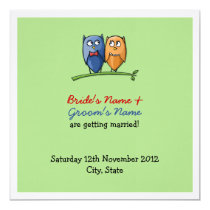 Owl Love green Wedding Announcement