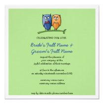 Owl Love green Wedding Invitation