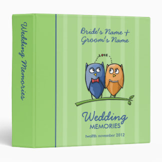 Owl Love green Wedding Memories Binder
