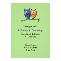 Owl Love green Wedding Reception Card