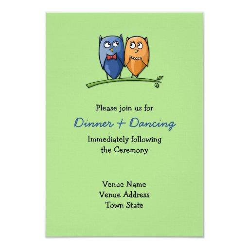 """Owl Love green Wedding Reception Card 3.5"""" X 5"""" Invitation Card"""