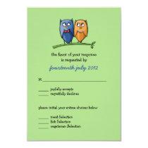 Owl Love green Wedding RSVP Card