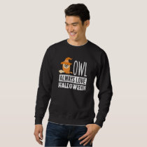 Owl Love Halloween witch broom magic hat orange Sweatshirt