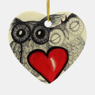 Owl Love - Heart Ornament