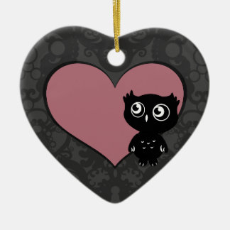 Owl Love I Ceramic Ornament
