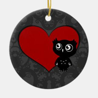 Owl Love III Ceramic Ornament