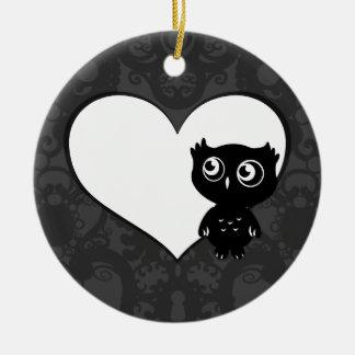 Owl Love IV Ceramic Ornament