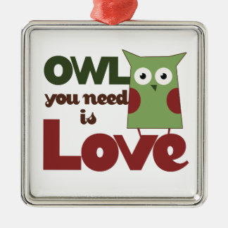 Owl Love Metal Ornament
