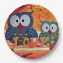 Owl love paper plate
