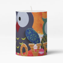 Owl love pillar candle