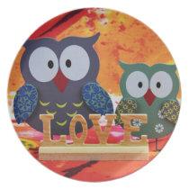 Owl love plate